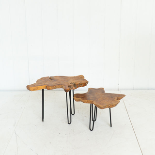 Tree Base Rustic Hairpin Coffee Tables