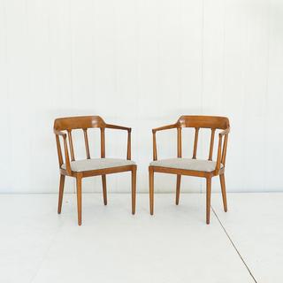 Mid Century Grey Tweed Upholstered Chair