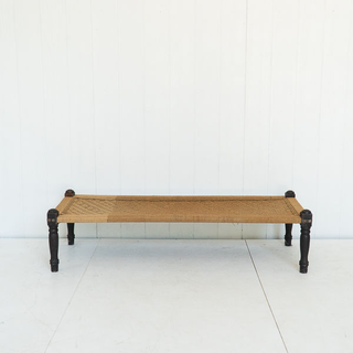 Woven Jute Bench Coffee Table with Dark Unique Legs
