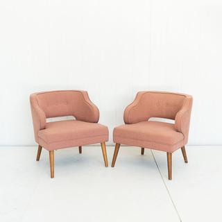 Blush Linen Wingback Chair