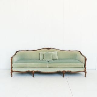 Mint Velvet and Walnut French Style Sofa