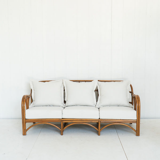 Vintage Bamboo Sofa with White Cushions