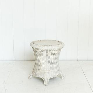 White Wicker Boho Side Table