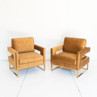 Cognac Velvet Modern Chair with Brass Bar Legs