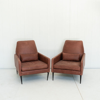 Dark Brown Leather Modern Club Chairs