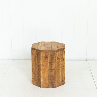 Wooden Octagon-Shaped Side Table Rustic
