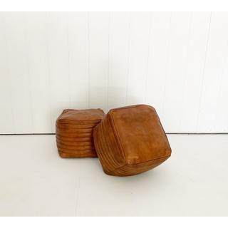 Tan Leather Square Pouf
