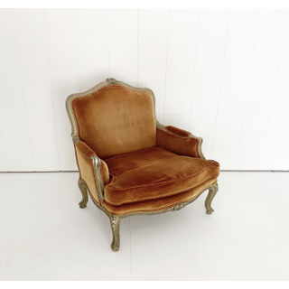 Burnt Orange Velvet French Style Chair