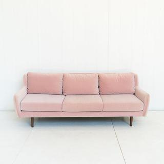 Pink Velvet Mid Century Style Sofa