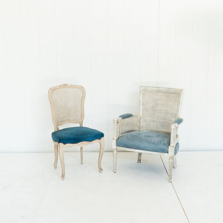 French Blue Velvet Chair with Cane Back