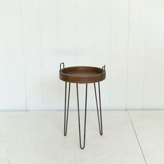 Contemporary Wood and Black Iron Side Table