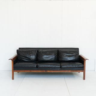 Black Leather Mid Century Sofa