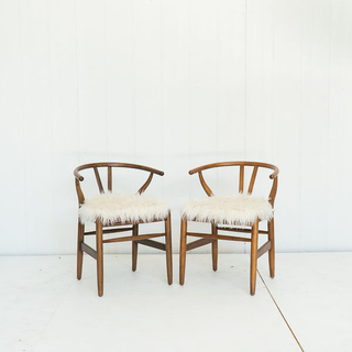 Mid Century Style Wood Chairs with Faux Fur Seat Cushion