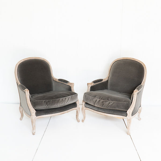 Grey Velvet French Style Chairs