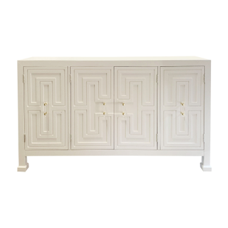Johnathan Adler Style White Cabinet, Lucite Handles, Brass Accents