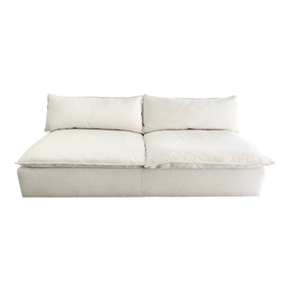 Armless Cloud Style Sofa with Ivory Boucle Fabric