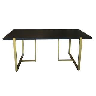 ebony brass wood dining table pedastal