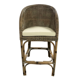 rattan wicker barstool ivory cushion bar height stool