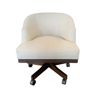 Barrel Rolling Desk Chair, Cream Colored Upholstery.