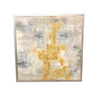 mustard yellow blue white ivory square artwork painting