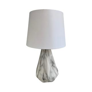 Petite Faux Marble Geometric Lamp, White Shade