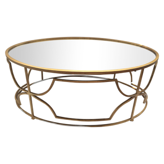 gold metal coffee table with mirrored top