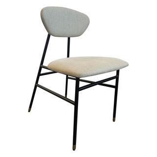 light gray black slanting dining chair woven fabric