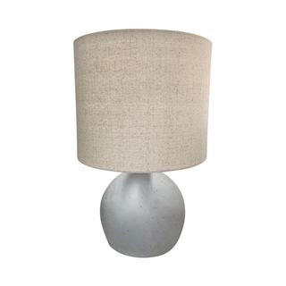 Concrete Base Bulbous Lamp Pair