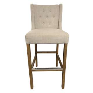Cream Colored Linen Counter Height Barstools