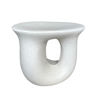 White   Black Spotted Ceramic Side Table, Curvy Shape