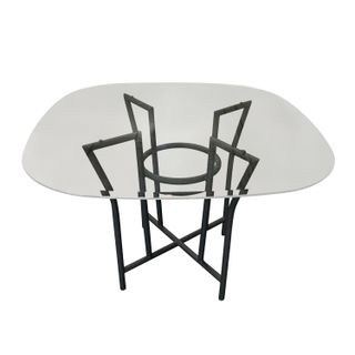 Matte Black 80s Cafe Dining Table with Glass Top