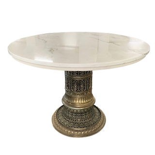 vintage marble round dining table small carved gold metal brass base