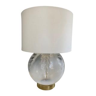 Vintage Glass Lamp, Brass Base
