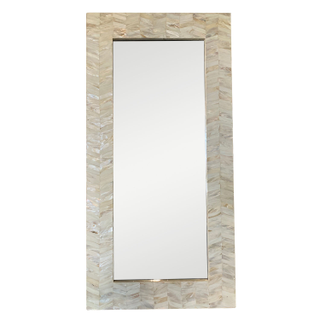Coastal Mirror with Mother of Pearl Frame ivory white