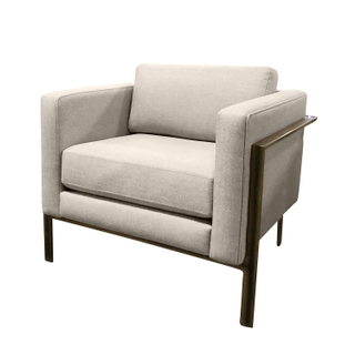 taupe grey modern chair brass base