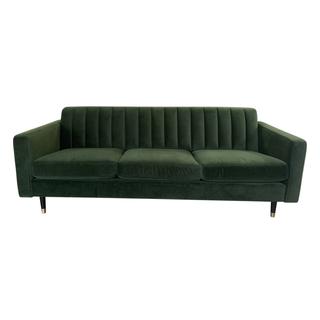 Forest Green Velvet Channel Backed Mid Century Style Sofa
