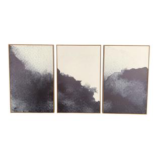 dark blue indigo triptych artwork cloud painting