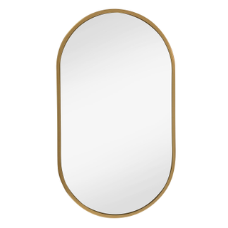 Small Oval Bedside Mirrors, Brass Gold Frame