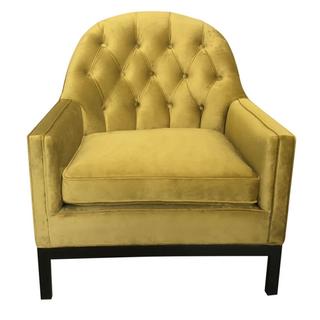 Chartreuse tufted velvet chair