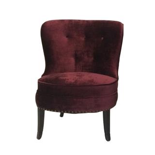 vintage burgundy velvet slipper chair