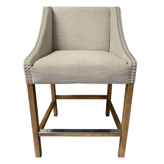 Linen Counter Stool with Silver Nailheads