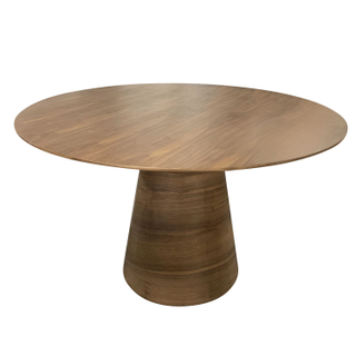 Round Walnut Pedastal Dining Table, Carved Base