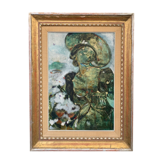Woman Painting Artwork Gold Frame