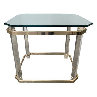 Vintage Lucite and Brass Side Table, Glass top.