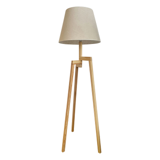 Tri Legged, light wood bleached Wooden lamp.