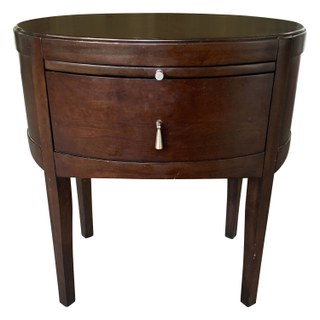 Ebony, Oval Shaped Nightstand with Drawer Pull