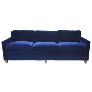 blue sapphire velvet sofa three seater