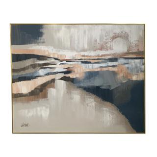 blue peach ivory large painting artwork