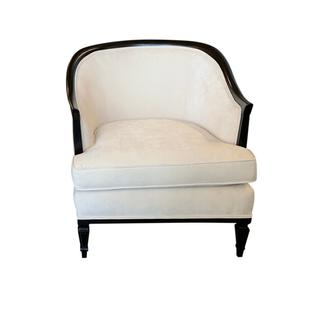 vintage ivory velvet barrel wedding chair