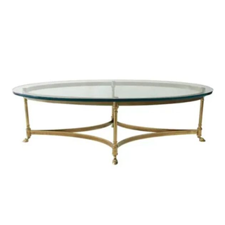 vintage labarge table with brass hoof base and glass top